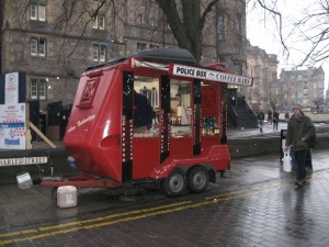 Police Box- they sell coffee, hot chocolate, and snacks!